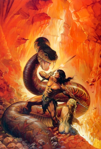 Conan fighting a giant snake